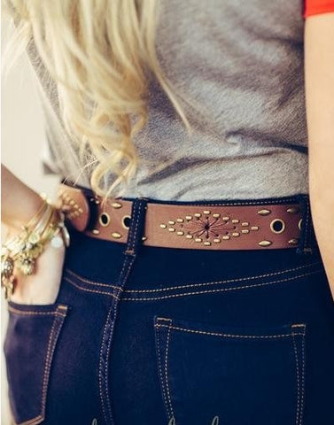 Brown Leather belt - Lily Wings