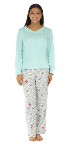 Fleece Long Sleeve Pajama Set in Polar Bears - Lily Wings - 1