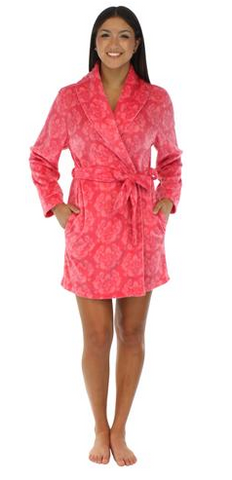 Fleece Short Robe in Pink on Pink Damask - Lily Wings - 1