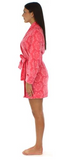 Fleece Short Robe in Pink on Pink Damask - Lily Wings - 2