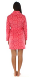 Fleece Short Robe in Pink on Pink Damask - Lily Wings - 3