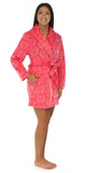 Fleece Short Robe in Pink on Pink Damask - Lily Wings - 4