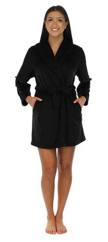 Fleece Short Robe in Solid Black - Lily Wings - 1