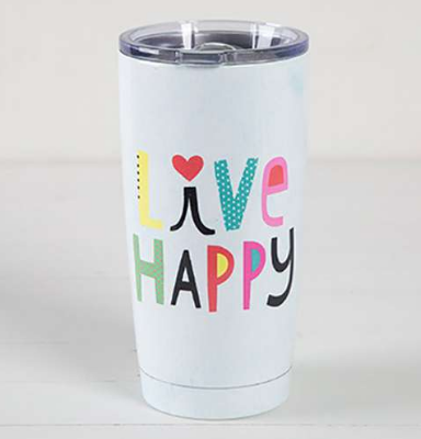 """Live Happy"" Tumbler - Lily Wings"