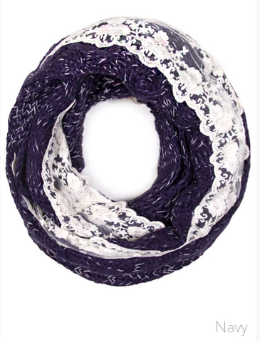 Lace Infinity Scarf - Lily Wings - 1
