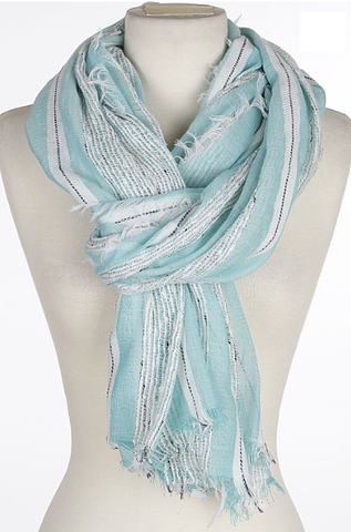 Mint Stripe scarf with fringe - Lily Wings - 1