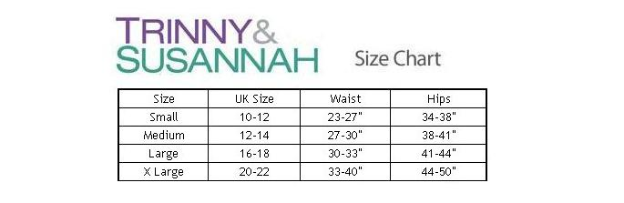 Trinny and Susannah All In One Body Shaper Size Chart