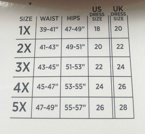 Miraclesuit Fuller Figure Shapewear Size Chart