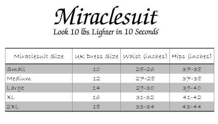 Miraclesuit Rear Lift and Thigh Control Waistline Leggings Size Chart