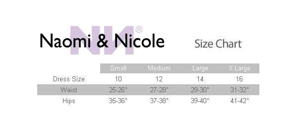 Naomi and Nicole Sensual Sheer High Waist Thigh Slimmer Size Chart