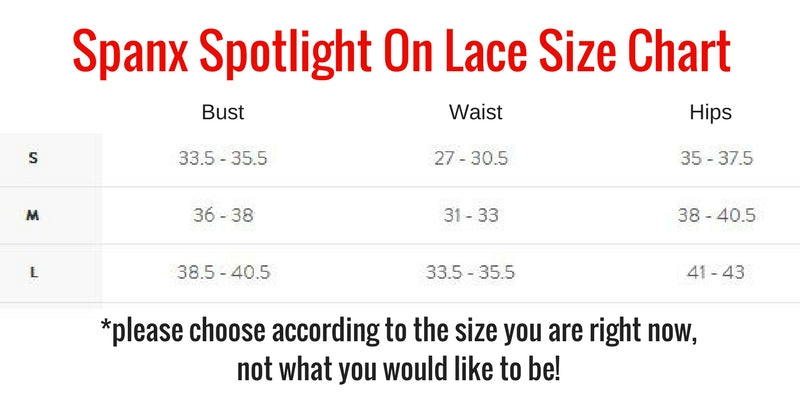 Spanx Spotlight On Lace Firm Control Bodysuit Size Chart