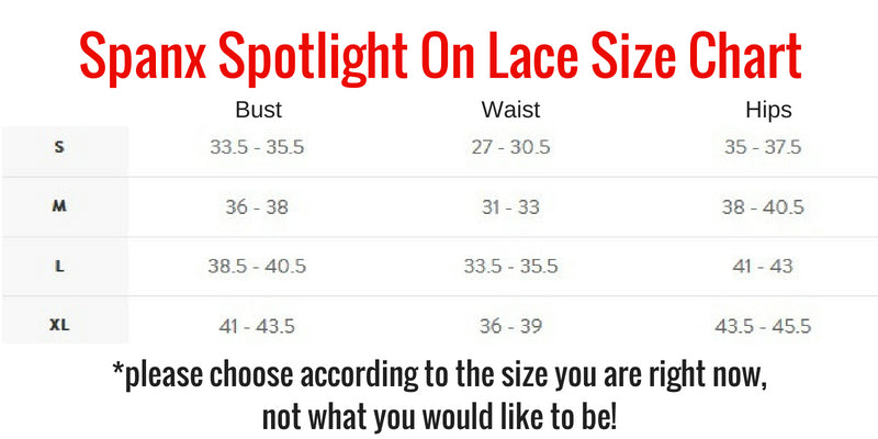 Spanx Spotlight On Lace Size Chart