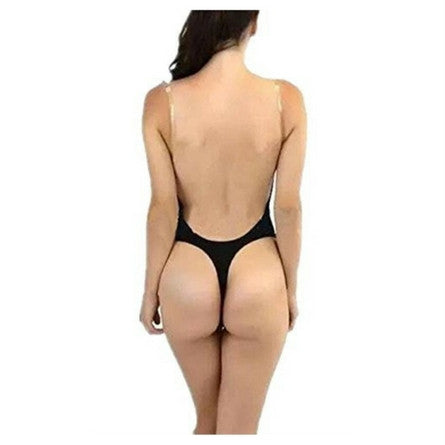 Alove Women's Shapewear Thong Bodysuit For Backless Plunge Dresses Black Back View