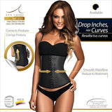 Ann Chery 3 Hook Latex Boned Waist Trainer Black Front View