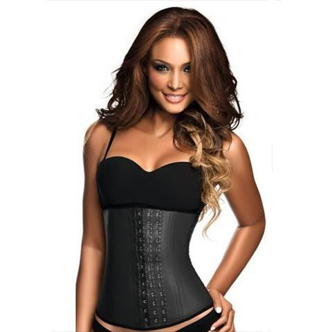 Ann Chery 3 Hook Latex Boned Waist Trainer In Black