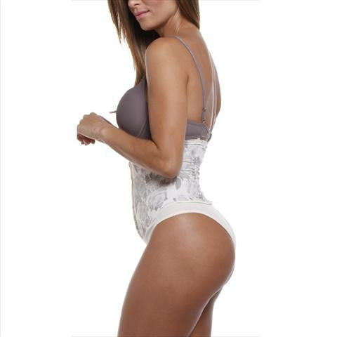 Esbelt Elegant High Waist Boned Girdle In Ivory Back View