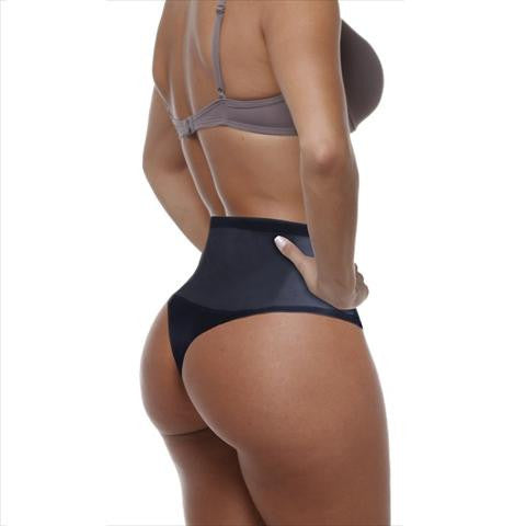 Esbelt High Compression Shaper Thong Black Back View