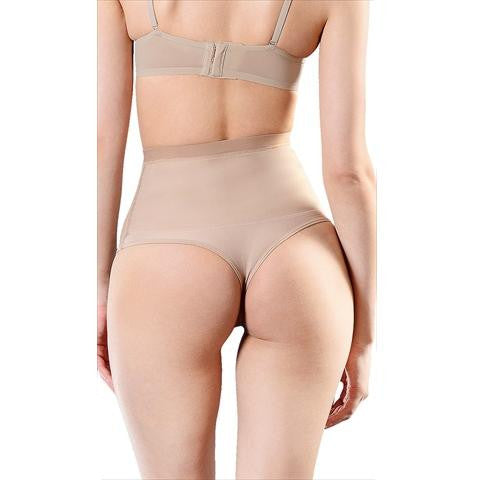 Esbelt High Compression Shaper Thong Natural Back View