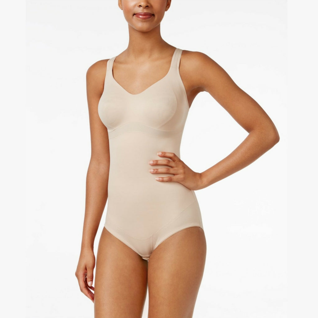 d0892a5b77 Miraclesuit Flexible Fit Wire Free Slimming Bodysuit Natural Front View.  Miraclesuit Flexible Fit Wire Free Slimming Bodysuit Natural Front View