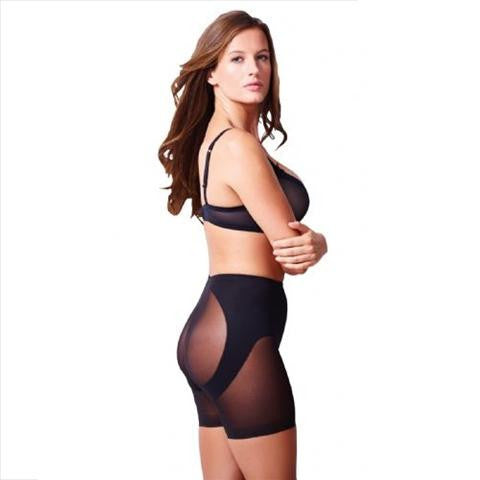 Miraclesuit Sexy Sheer Waistline Butt Lifter Short In Black Woman