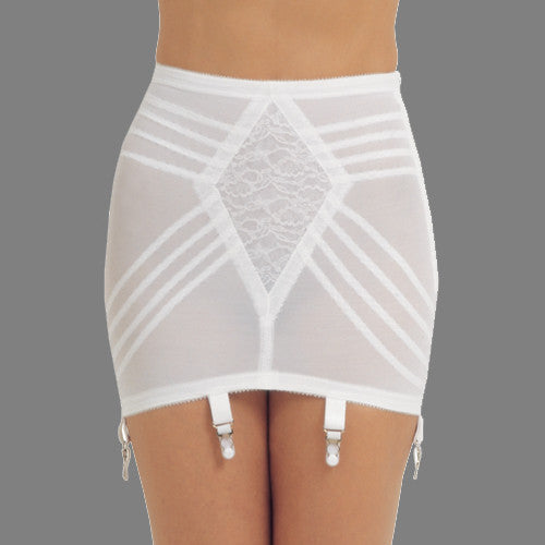 rago shapewear open bottomed girdle white garter straps