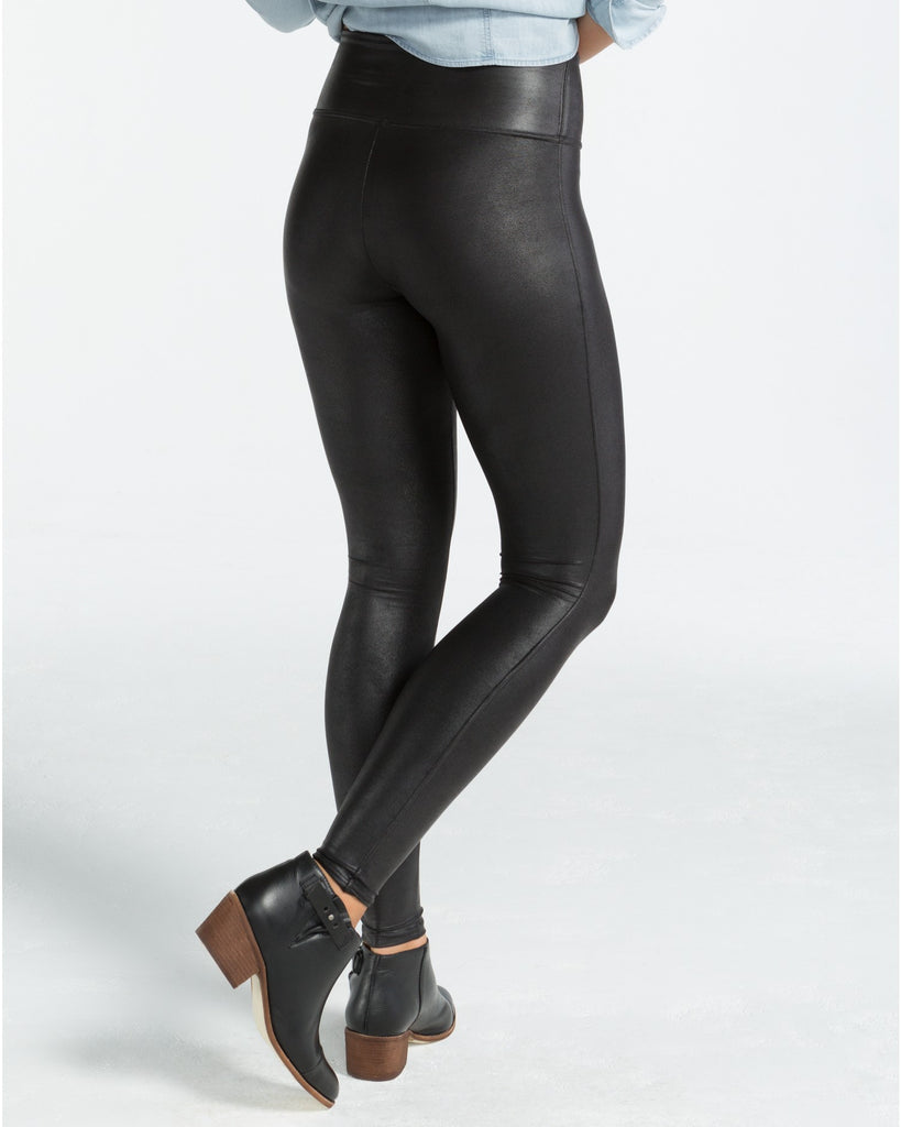 Spanx Faux Leather Black Slimming Leggings - SPX 2437 Back View