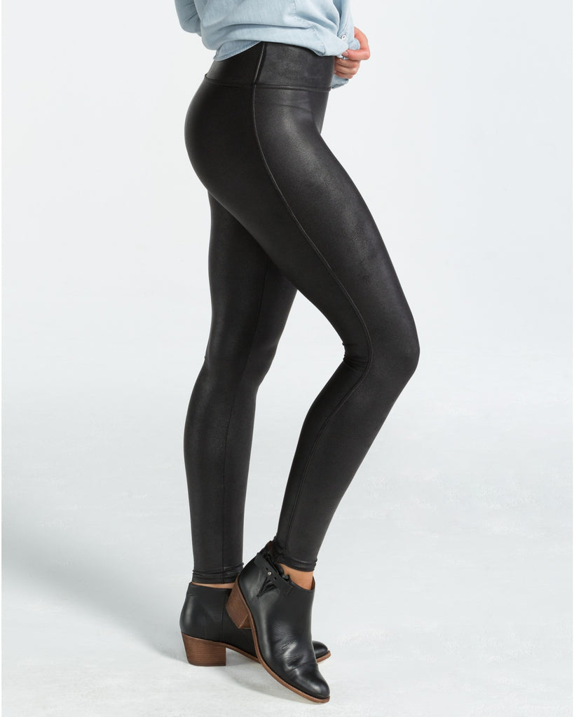 Spanx Faux Leather Black Slimming Leggings - SPX 2437 Side View