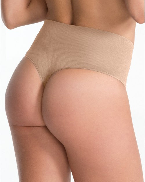 spanx everyday shaping thong nude back