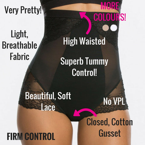 spanx spotlight one lace high waist firm control briefs