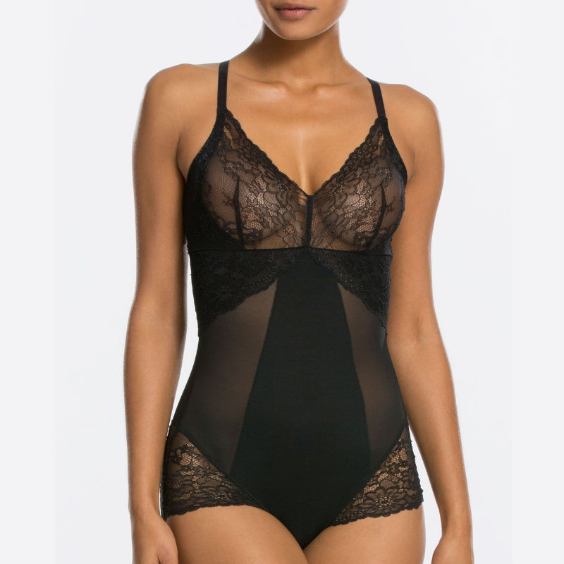 Spanx Spotlight On Lace Firm Control Shaping Bodysuit Black Front
