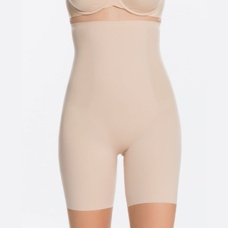 Spanx Thinstincts High Waisted Mid Thigh Shaper Shorts Nude Front