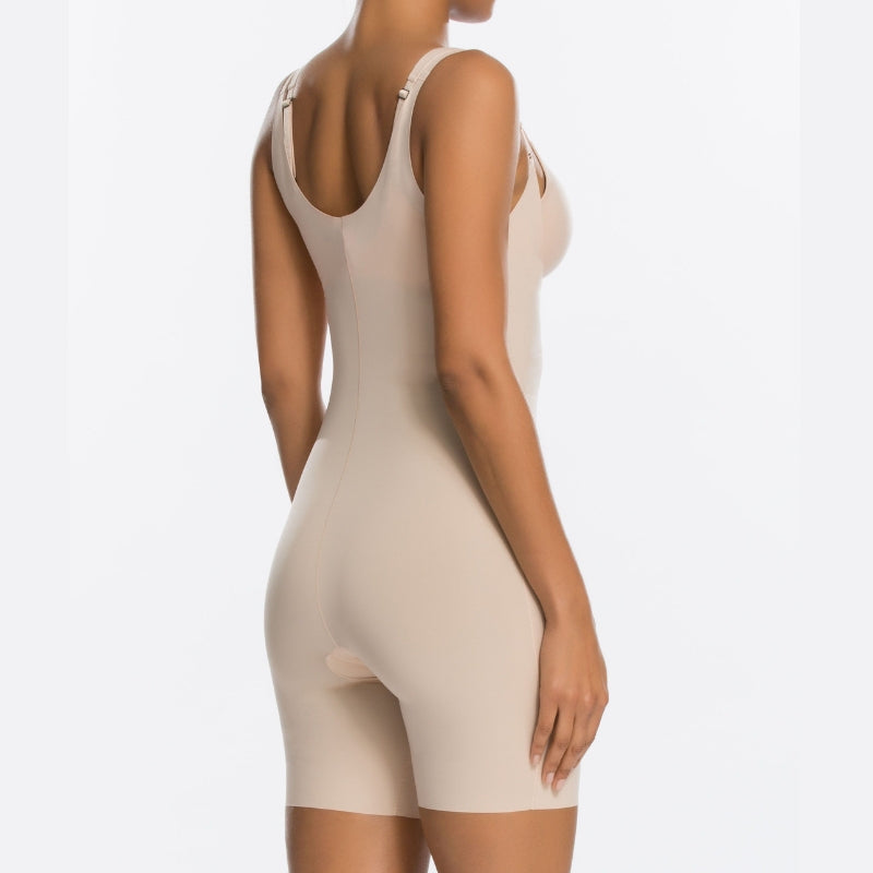Spanx Thinstincts Open Bust Bodysuit Nude Back View