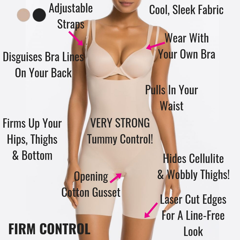339f2980d Spanx Thinstincts Open Bust Mid Thigh Shaping Bodysuit - Tames ...