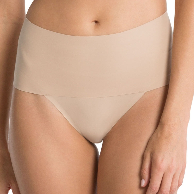 spanx undietectable control thong front nude
