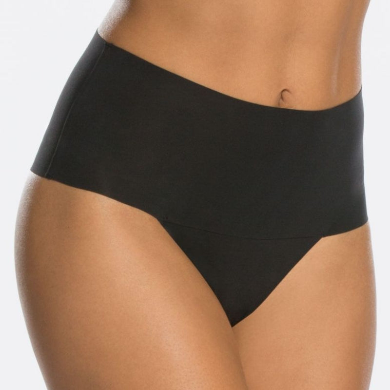 spanx undietectable control thong black front