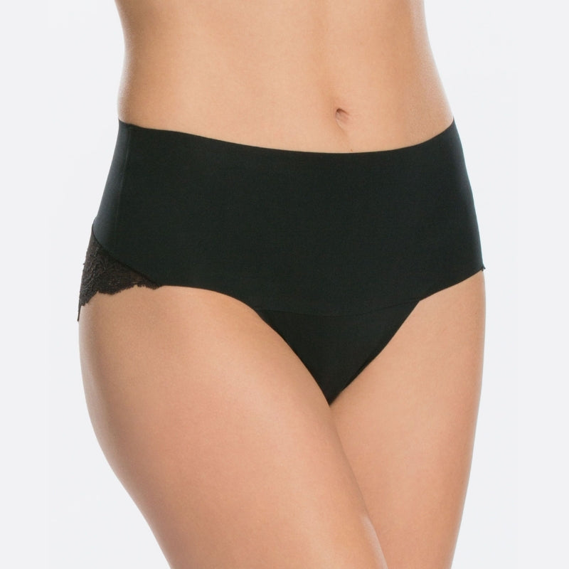 spanx undietectable lace control panty black front