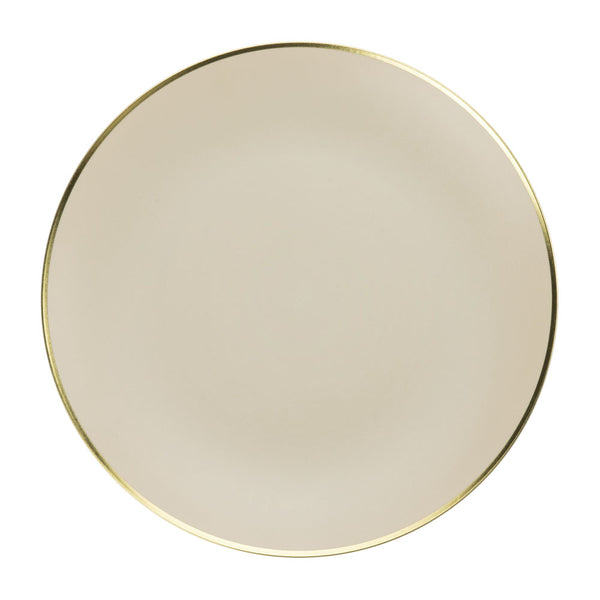 Dinner Plate in Bone with Gold Rim