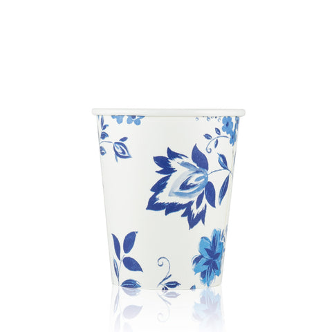 Hot and Cold Drink Cup in Cobalt Floral