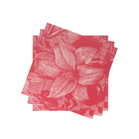 Lightweight Petite Napkin in Red Cabana Lily Bloom | Pack of 10