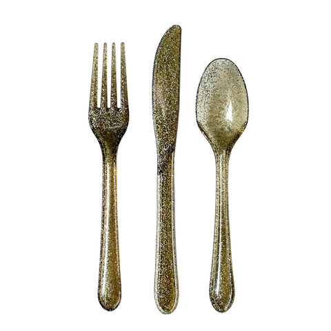 Glitter Flatware Set in Gold