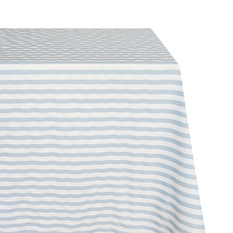 Cabana Raw-Hem Fabric Tablecloth in Amalfi Blue and White Stripe