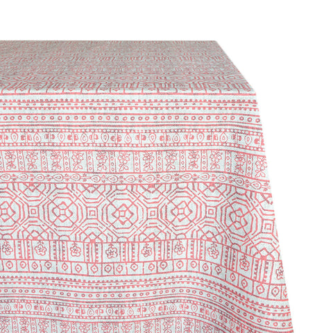 Mason Raw-Hem Fabric Tablecloth in Coral Graphic
