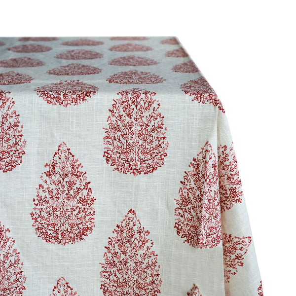 Floral Damask Print Raw-Hem Fabric Tablecloth