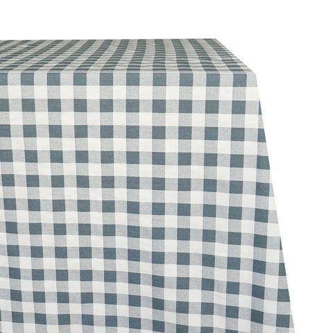 Hamptons Raw-Hem Fabric Tablecloth in Dark Grey and White Gingham
