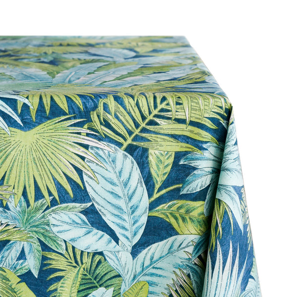 Tropical Print Raw-Hem Fabric Tablecloth