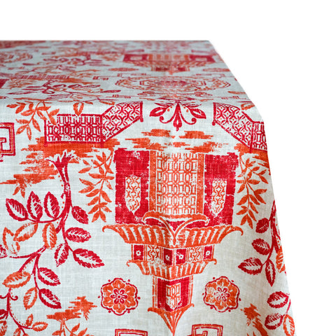 Voyager Print Raw-Hem Fabric Tablecloth