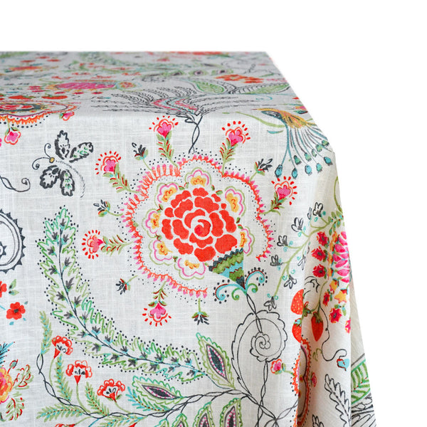 Whimsy Floral Print Raw-Hem Fabric Tablecloth