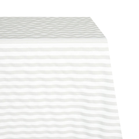 Cabana Raw-Hem Fabric Tablecloth in Whisper Grey and White Stripe