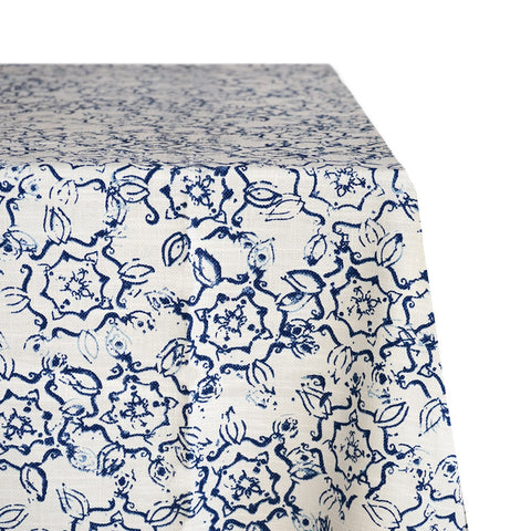 Windmill Floral Print Raw-Hem Fabric Tablecloth