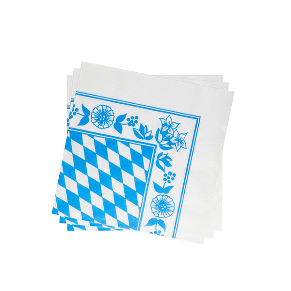 Lightweight Napkin in Cyan Checkered Floral | Pack of 10